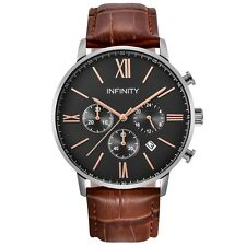 Infinity SP 04 Rosegold & Black Men's Classic Chronograph Watch- Black Leather
