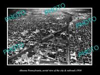 OLD LARGE HISTORIC PHOTO OF ALTOONA PENNSYLVANIA AERIAL VIEW OF CITY c1930