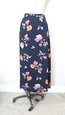 TOTO n KO 100% Rayon Black Roses Floral Print Unlined Mid Calf Long Skirt - 14