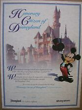 2010 DISNEYLAND HONORARY CITIZEN CERTIFICATE WITH MICKEY - MINT - BEAUTIFUL!