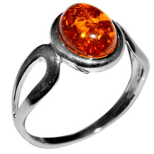 2.01g Authentic Baltic Amber 925 Sterling Silver Ring Jewelry s.10 N-A7267