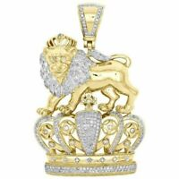 2Ct Diamond Crowned Lion Badge King Hat Pendant Charm10K Yellow Gold Over