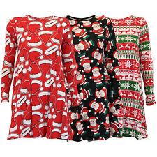 ladies christmas dress womens santa xmas snowflake reindeer novelty flared new