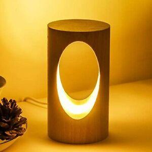 LED Wood Desk Lamp Bedroom Bedside Night Light Dimmable Lighting Home Decor LED