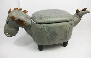 Upholstered BNIB Kid's Storage Stool Sit-On Toy Box - Dark Grey Dragon