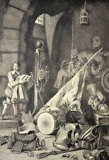 GRAVURE 1886 Corps de Garde D. TENIERS D. Mordant Lallement 25x19cm L'Art