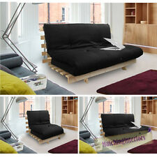 Black Studio Futon Wooden Frame Sofa Bed Thick Sleeping Mattress Student Dig