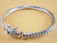 "New 925 Sterling Silver Foxtail Franco Wheat Bracelet Bali Tulang Naga 7.75"" 33g"