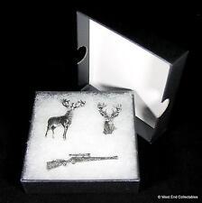 Deer Hunting Stalking Handmade Pewter Pin Brooch Set - 3 x Badge in Gift Box