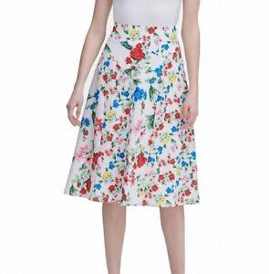 Calvin Klein Women's Skirt Blue White Size 12 A-Line Floral-Print $89 466