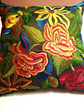"""PIER 1 IMPORTS EMBROIDERED FLORAL THROW PILLOW 18""""x18"""" W/INSERT"""