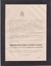 *1887 Faire-part décès Mme de BARTHEZ de MONTFORT née de CASTANIÉ de CLAPIERS