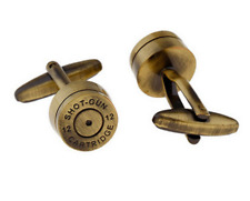 Shot Gun Cartidge Antique Brass Cuff Links Dress Shirt Cufflinks