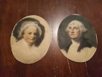 Vintage President George Washington & Martha Portraits Period Art Rare Original