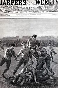 College Football 1887 PLAYERS TACKLE and BALL DOWN Matted Antique Print w Story