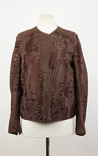 New. BRUNELLO CUCINELLI Brown Astrakhan Lamb Fur Biker Jacket Size 4/40 $19745