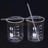 1Set (2+2) PCS Glass Beaker 400ml+2Pcs  Borosilicate Measuring Lab Glassware