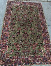 An Awesome Green Color Background Royal Kerman Rug