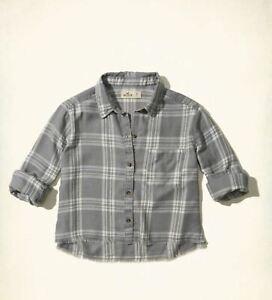 Hollister Womens Burnout Button-front Shirt, Grey - BNWT!