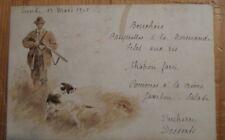 menu illustré - chasse - 1905 chien lièvre