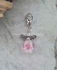 Pink Clip on Glass Bead Fairy Guardian Angel Bracelet Charm Wedding Favour UK