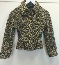 Gaultier Junior Vintage Leopard Print Denim Corset Jacket 40