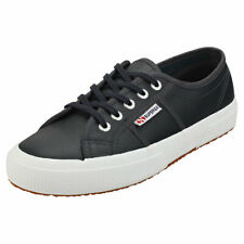 Superga 2750 Efglu Womens Blue Navy Leather Casual Trainers