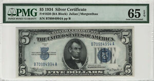 1934 $5 SILVER CERTIFICATE FR.1650 BA BLOCK PMG GEM UNCIRCULATED 65 EPQ