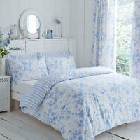 Charlotte Thomas Amelie Reversible Stripe Duvet Set or Curtains in Blue White