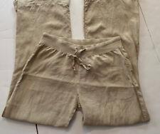 BELLA DAHL Womens Linen Pants Natural Color, Wide Leg, Drawstring Waist, Medium