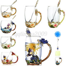 4in1 Handmade Crystal Enamel Flower Glass Tea Cup Coffee Mugs Gift Box Decor AU