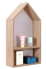 House Shape Wooden Display Wall Hanging Storage Unit Shelves Cubes Home Decor