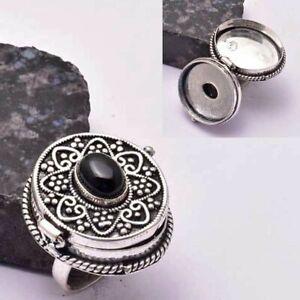 Black Onyx Ethnic Handmade Poison Ring Jewelry US Size-7 AR 31695