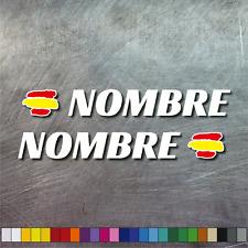 PEGATINA BANDERA ESPAÑA PERSONALIZABLE NOMBRE MOTO VINILO CASCO BTT BICICLETA X2