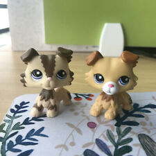 2Pcs Littlest Pet Shop Lps #2210#2452 Tan Brown Collie Dog Blue Eyes Puppy Kid