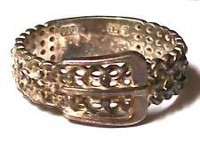 Vintage STERLING FILIGREE BUCKLE RING-SIZE 7