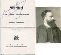 HERMANN SUDERMANN - orig. sign. Autogramm mit Fotopostkarte, Autograph, signed