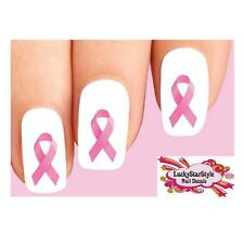 Waterslide Nail Decals Set of 20 - Pink Breast Cancer Awareness Ribbon