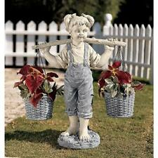 "Design Toscano Exclusive 25"" Flowers For Felicity Little Girl Garden Statue"