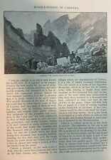 1882 Marble Mining in Carrara Italy