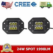 2X 4inch 24W Square CREE LED Cube Pod Work Light Flush Mount Offroad Spot Jeep