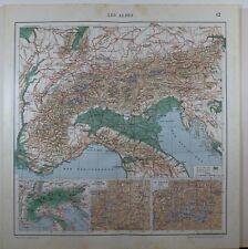 1929 ORIGINAL MAP ~ THE ALPS SWITZERLAND RHINE VALAIS PASSAGES