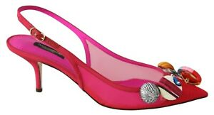 DOLCE & GABBANA Shoes Pink Button Gros Grain Heels Slingback EU39 / US8.5 $1100