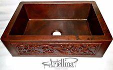 Ariellina 3D Farmhouse 14 Gauge Copper Kitchen Sink Lifetime Warranty New AC1830