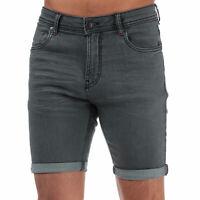 Mens Ringspun Neptune Denim Chino Shorts In Grey- Zip Fly- Five Pocket Design-