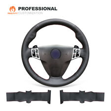 Black Genuine Leather Steering Wheel Cover for Saab 9-3 2006-2011/ 9-5 2006-2009