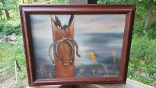 Vintage Wood Western Rustic Gray Sky Horseshoe Canvas Painting Gray Yellow Red