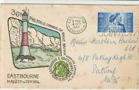 great britain 1956 Eastbourne + lighthouse 36th anniv stamps cover ref 21448
