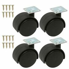4Pcs 2Inch Swivel Casters Nylon Twin Wheel, Top Plate Mount 360 Degree Rotation