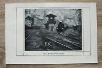 Kunstdruck 1 Blatt 1908/09 Abend Eisenbahn Bahnhof Zug nach Gemäld Prof H Pleuer